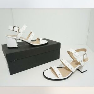 ASKA Beatrice Heels Sandals White Leather